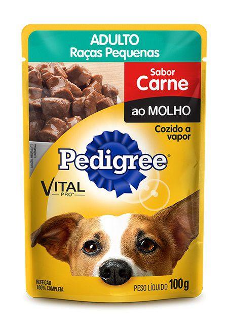 Sachê de Ração Úmida Pedigree Cães Adultos Raças Pequenas Sabor Carne ao Molho 100g