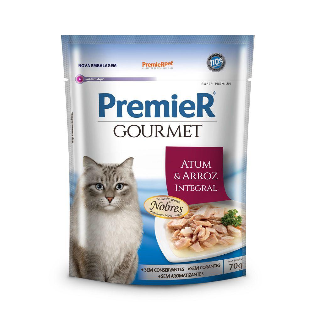 Sachê de Ração Úmida Premier Gourmet para Gatos Adultos Sabor Atum e Arroz Integral 70g