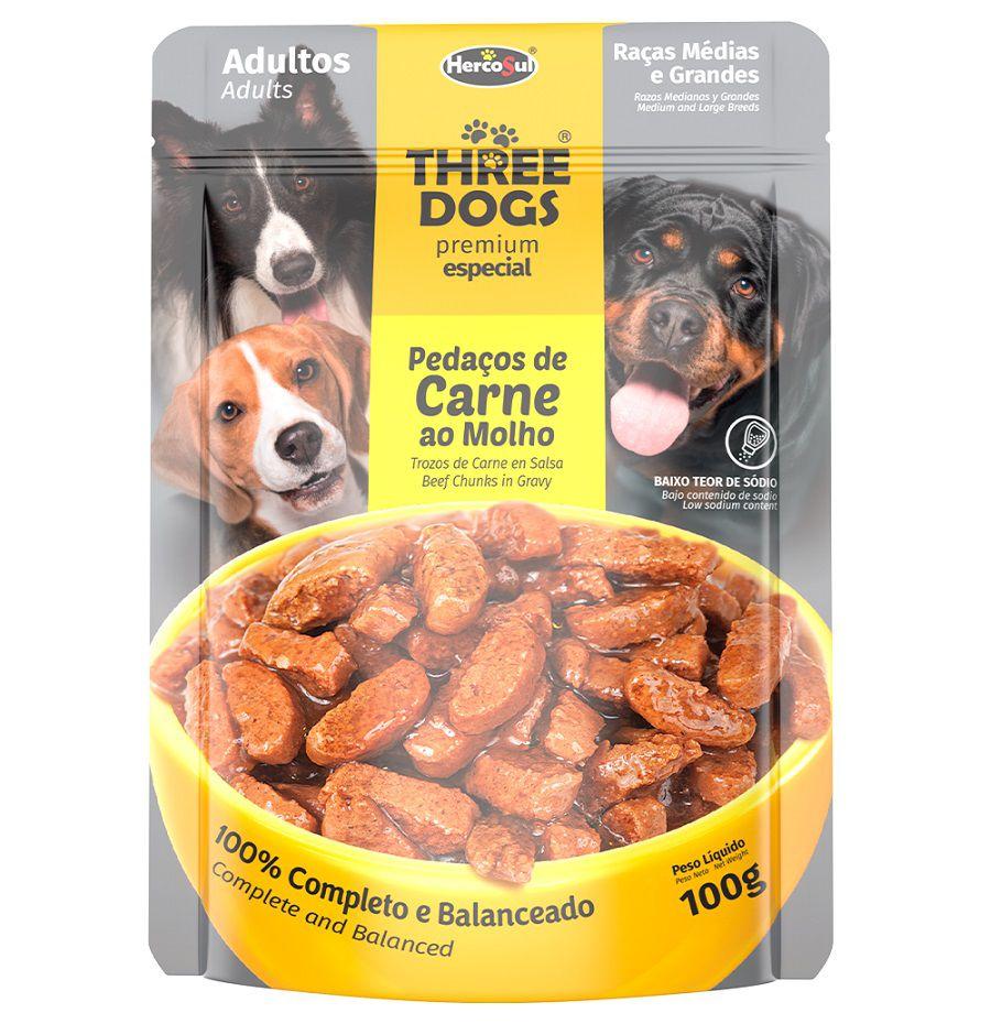 Sachê de Ração Úmida Three Dogs Cães Adultos Raças Medias e Grandes Sabor Carne ao Molho 100g