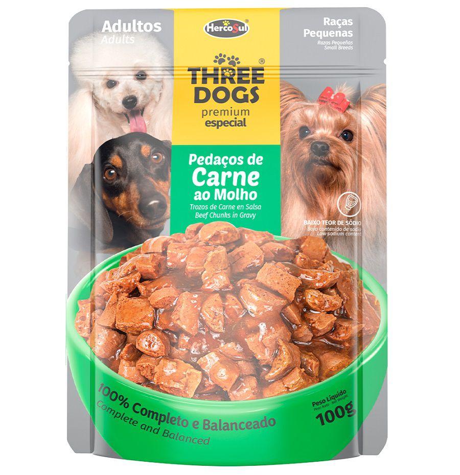 Sachê de Ração Úmida Three Dogs Cães Adultos Raças Pequenas Sabor Carne ao Molho 100g