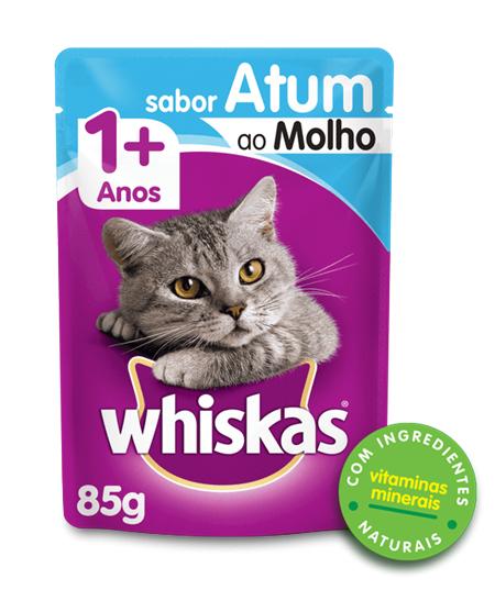 Sachê de Ração Úmida Whiskas para Gatos Adultos Sabor Atum ao Molho 85g