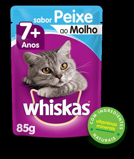 Sachê de Ração Úmida Whiskas para Gatos Adultos Sabor Peixe ao Molho 85g