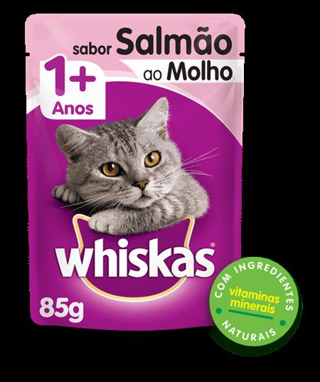 Sachê de Ração Úmida Whiskas para Gatos Adultos Sabor Salmão ao Molho 85g