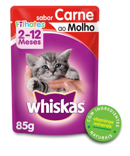 Sachê de Ração Úmida Whiskas para Gatos Filhotes Sabor Carne ao Molho 85g