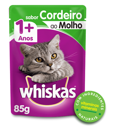 Sachê de Ração Úmida Whiskas para Gatos Adultos Sabor Cordeiro ao Molho 85g