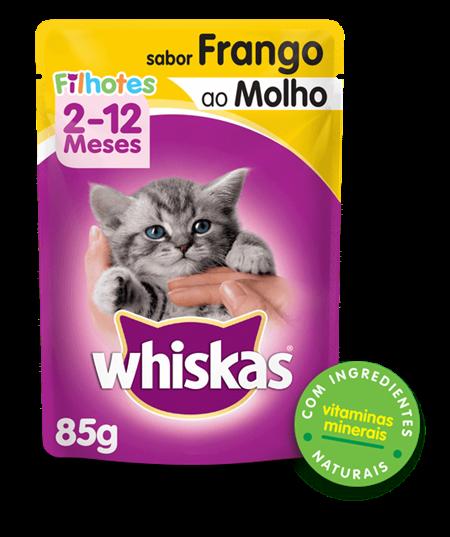 Sachê de Ração Úmida Whiskas para Gatos Filhotes Sabor Frango ao Molho 85g