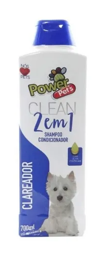 Shampoo e Condicionador 2 em 1 Clareador Power Pets Para Cães e Gatos 700ml