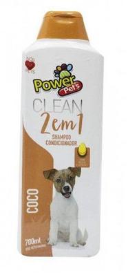 Shampoo e Condicionador 2 em 1 Pelos Escuros Power Pets para Cães e Gatos 700ml