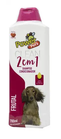 Shampoo e Condicionador 2 Em 1 Frutal Power Pets para Cães e Gatos 700ml