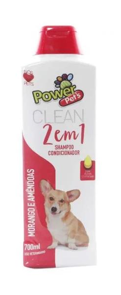 Shampoo e Condicionador 2 em 1 Morango e Amêndoas Power Pets para Cães e Gatos 700ml