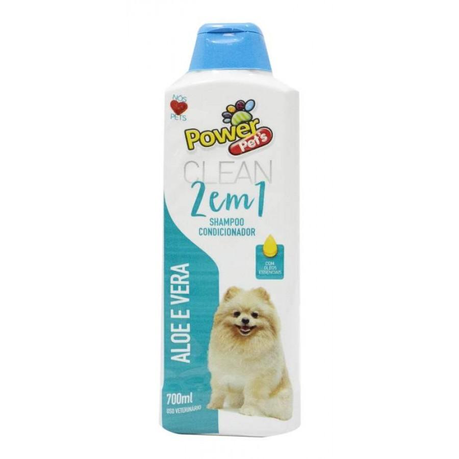 Shampoo e Condicionar 2 em 1 Aloe Vera Power Pets para Cães e Gatos 700ml