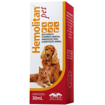 Suplemento Hemolitan Pet Gotas 30ml Vetnil para Cães e Gatos