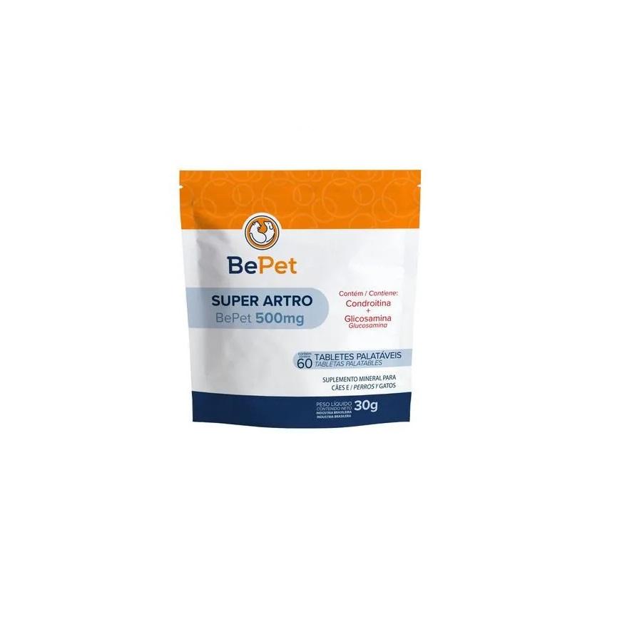Suplemento Mineral BePet Super Artro Cães e Gato 60 Tabletes