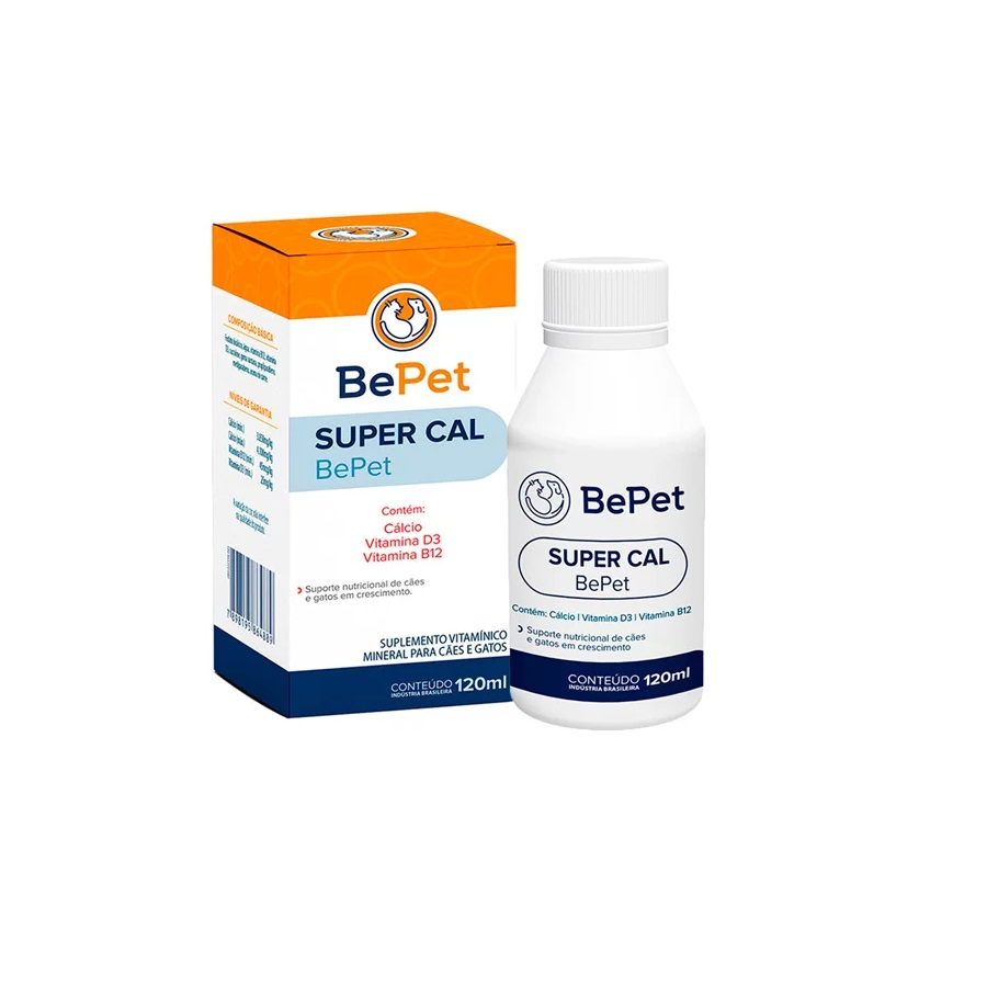 Suplemento Mineral Vitamínico BePet Super Cal Cães e Gatos 120ml