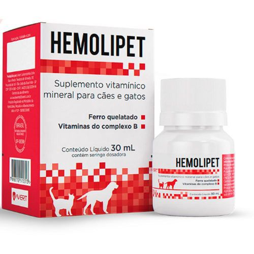 Suplemento Vitamínico Avert Hemolipet para Cães e Gatos 30ml