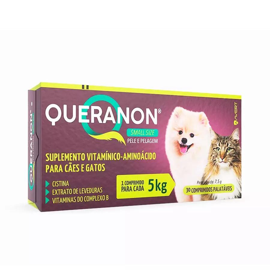 Suplemento Vitamínico Queranon Cães e Gatos de Porte Pequeno 30 Comprimidos 7,5g