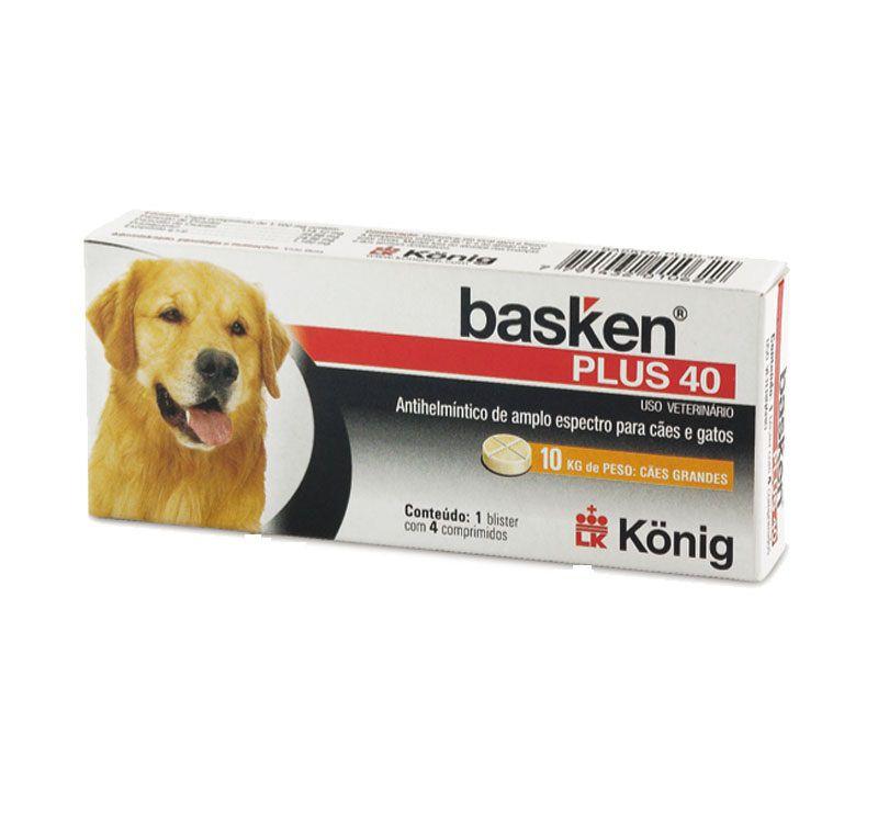 Vermifugo Basken Plus 40 1100mg para Cães e Gatos