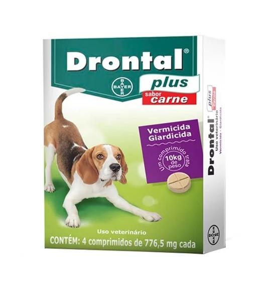 Vermífugo Drontal Plus Cães até 10kg 4 Comprimidos Sabor Carne