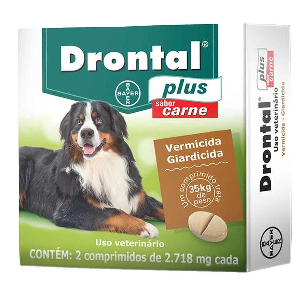 Vermífugo Drontal Plus Cães até 35kg 2 Comprimidos Sabor Carne