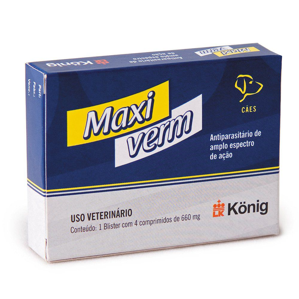 Vermifugo Maxiverm 660mg c/ 4 Comprimidos