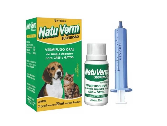 Vermífugo Natu Verm Suspensão Oral para Cães e Gatos 20ml