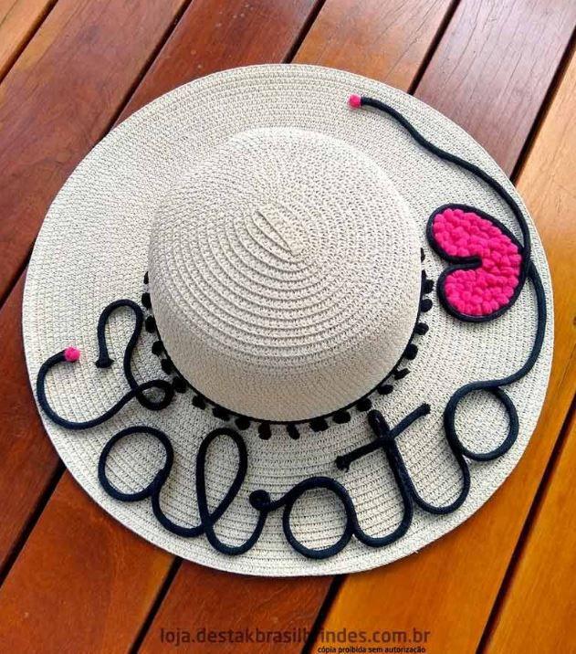 kit 2 Chapéus de Praia com Nome + Coração Rosa ou Coração Vermelho + Cordão ajustável