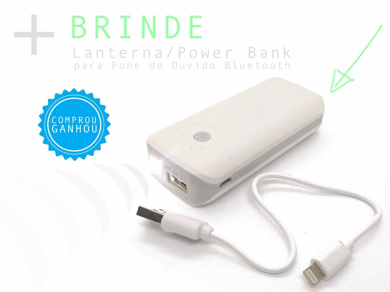 Lanterna / Power Bank para Fone de Ouvido Bluetooth