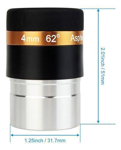 """Ocular Wide Angle Aspheric 4mm 62 º Campo  1,25""""- Para Telescópio"""