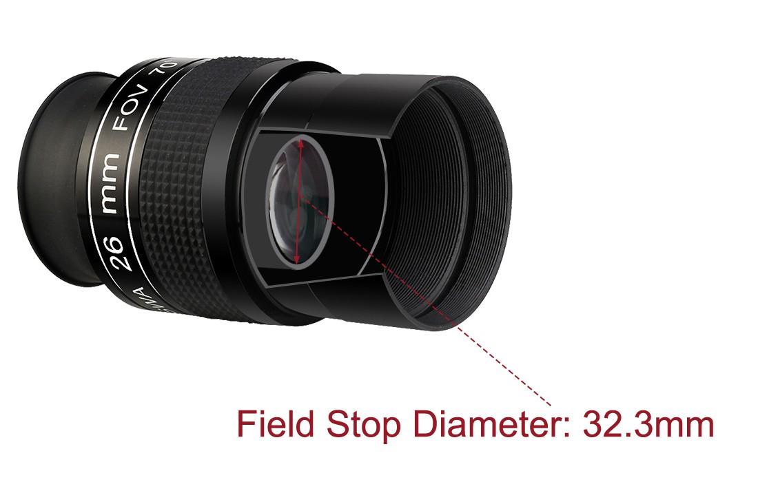 """Ocular Svbony 26mm 2"""" com 70° FOV"""
