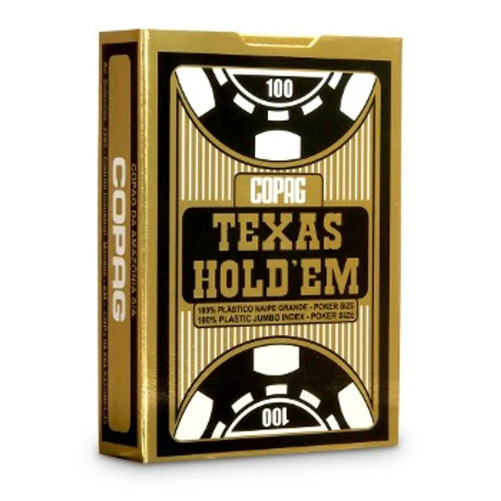 Baralho de Poker Texas Hold'Em de Plástico Preto