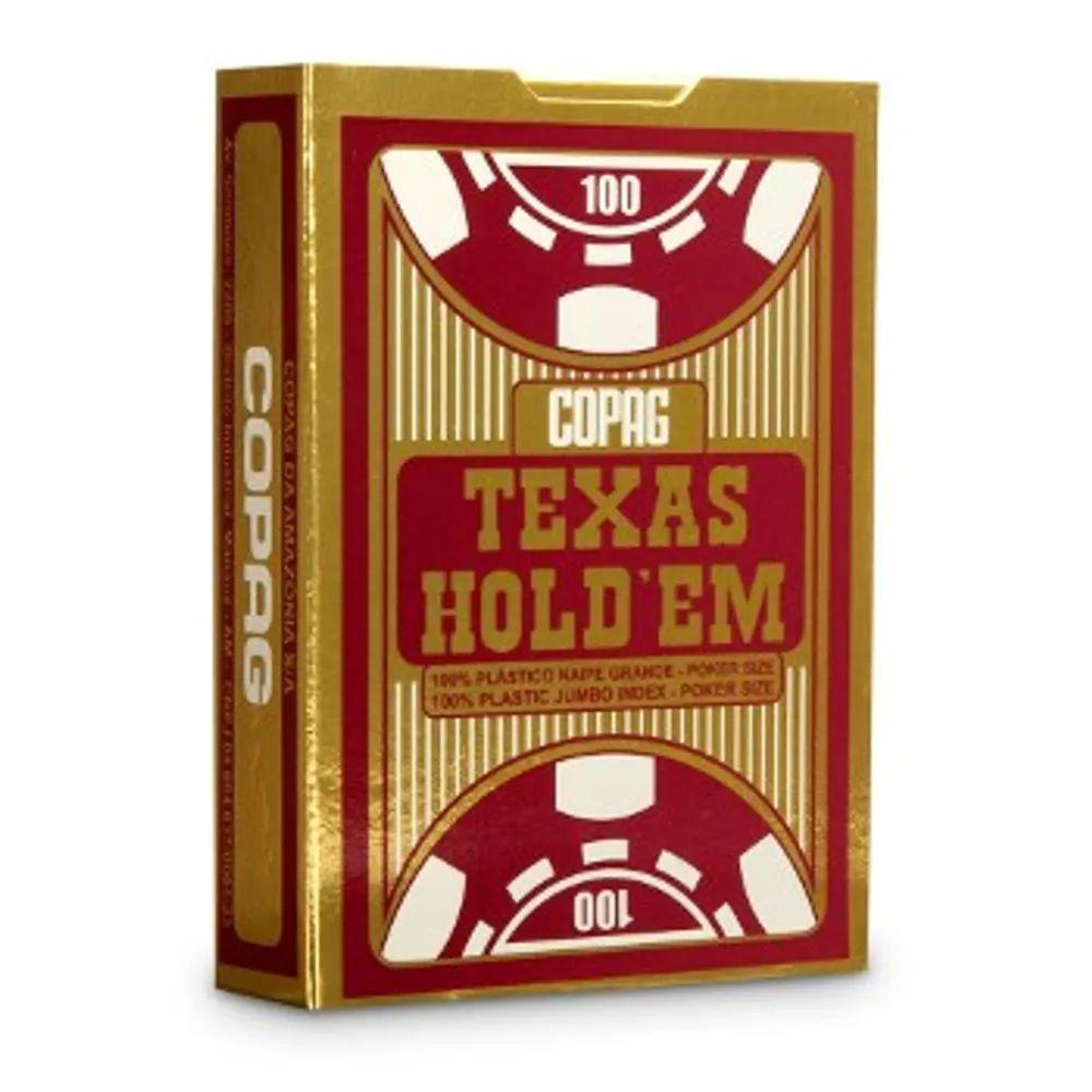 Baralho de Poker Texas Hold'Em de Plástico Vermelho