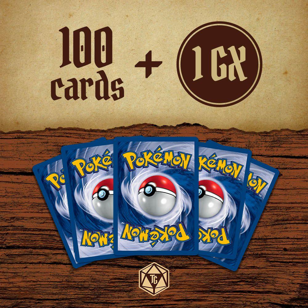 Lote de 50 Cartas de Pokémon + 1 Pokémon GX