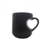 Canea Mágica Premium Alça de coração preto fosca 11OZ cerâmica LIVE