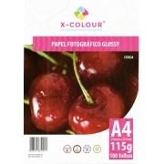 Papel A4 115G Fotográfico Glossy X COLOUR 100 Folhas