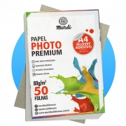 Papel A4 Fotográfico Adesivo Glossy 80G MUNDI 50 FLS