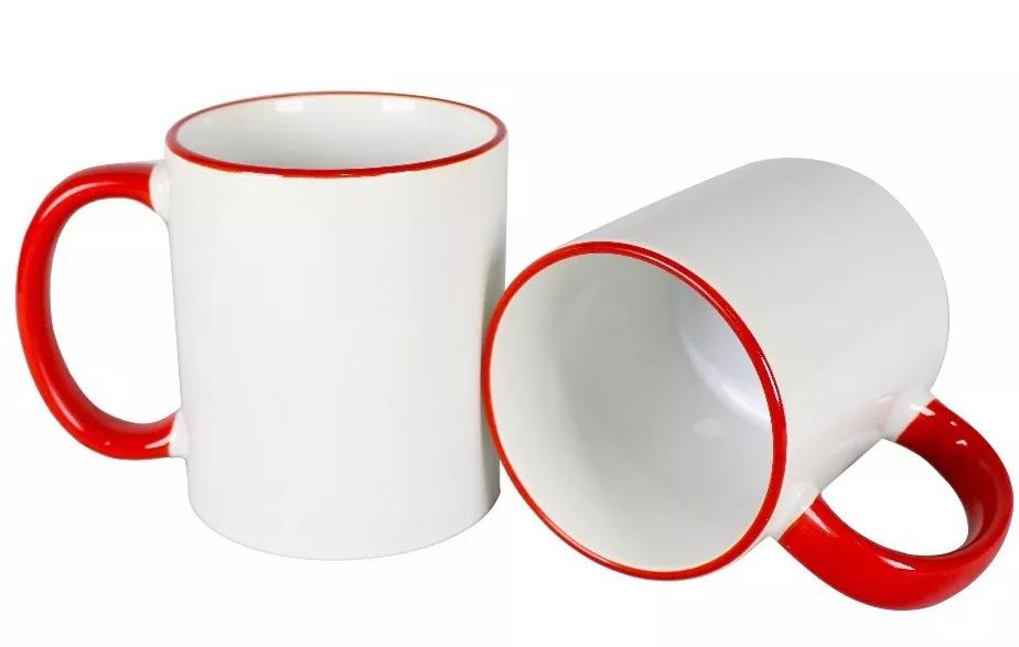 Canecas cerâmica branca com alça e borda vermelho - PREMIUM LIVE 325ml