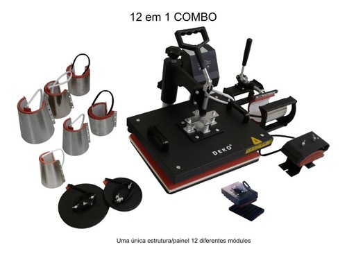 Combo Prensa Térmica Digital 12 x 1 32x45cm DEKO