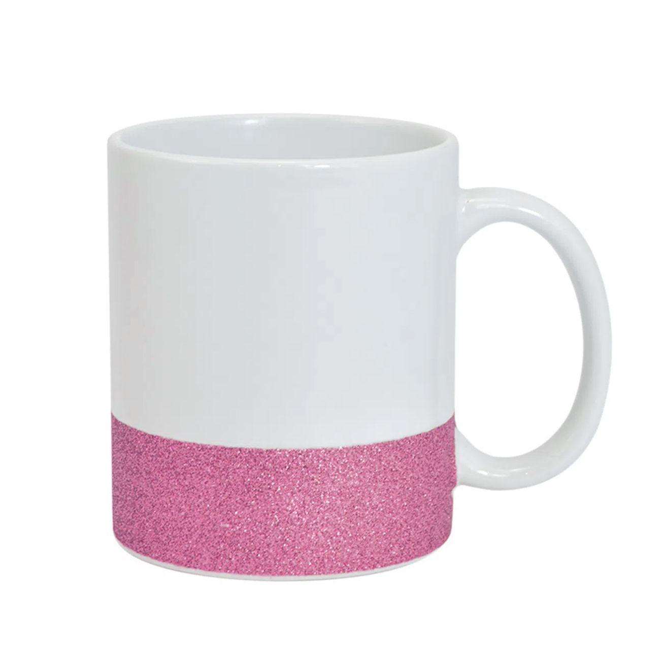 Caneca cerâmica branca BASE GLITTER ROSA  - PREMIUM LIVE 325ML