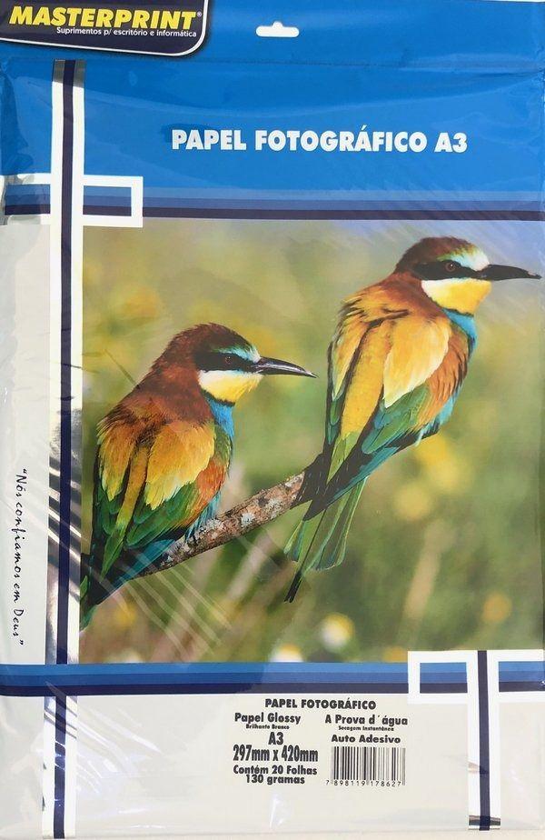 Fotográfico Adesivo Glossy A3 130G 20 folhas