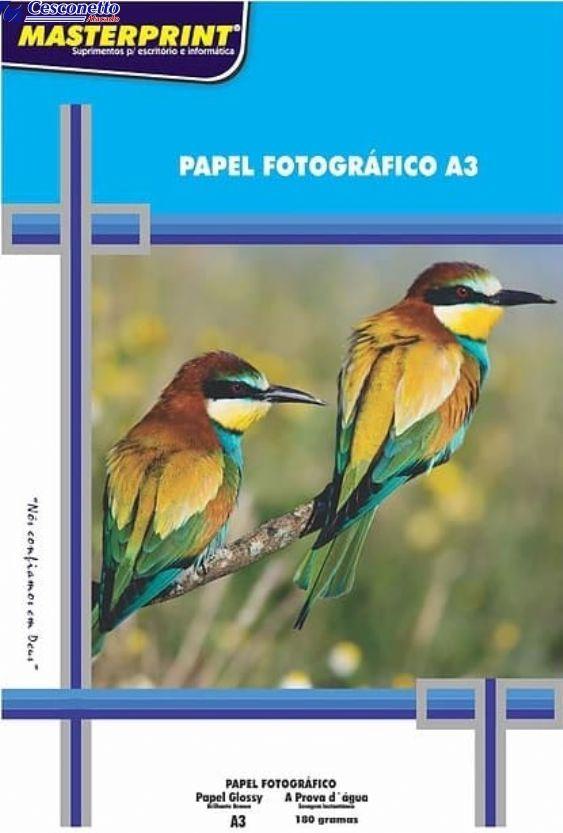 Papel A3 Dupla-face Fotográfico Glossy 180G MasterPrint 20 FLS
