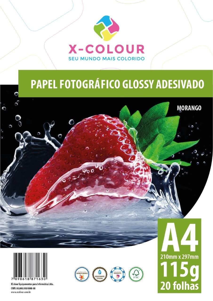 Papel A4 Adesivo Glossy 115g 20 folhas X-COLOUR