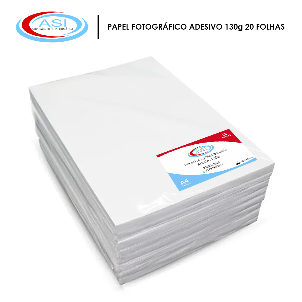 Papel A4 Adesivo Glossy 130g 20 folhas