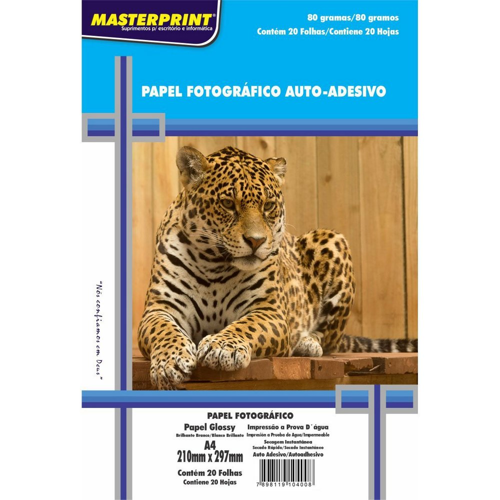 Papel A4 Adesivo Glossy MASTERPRINT 80g 20 folhas