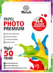 Papel A4 Fotográfico Adesivo Glossy 115G MUNDI 50 FLS