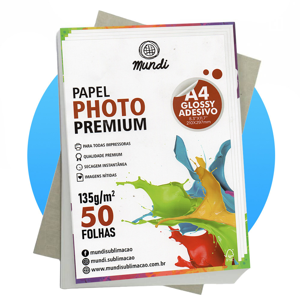 Papel A4 Fotográfico Adesivo Glossy 135G MUNDI 50 FLS