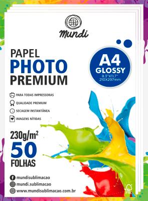 Papel A4 Fotográfico Glossy 230G MUNDI 50 FLS