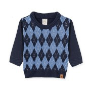Blusa Bebê em Tricô Menino Xadrez Escocês Azul Marinho