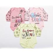 Kit Body Bebê 3 Peças Menina Rosa, Rosê e Mescla Dinda
