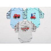 Kit Body Bebê 3 Peças Menino Azul e Mescla Veículos