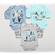 Kit Body Bebê 3 Peças Menino Mescla e Azul Família
